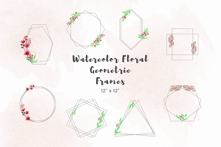 Watercolor floral geometric frames example image 1