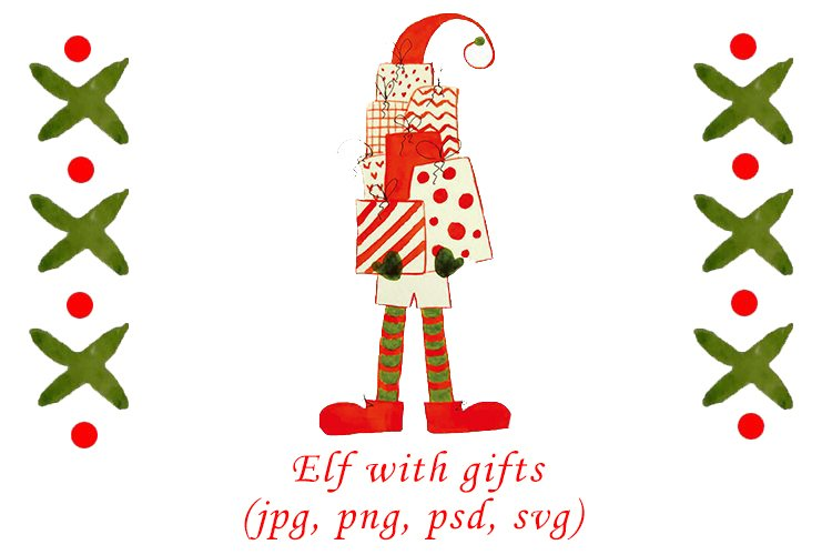 Watercolor Christmas elf with gifts example image 1