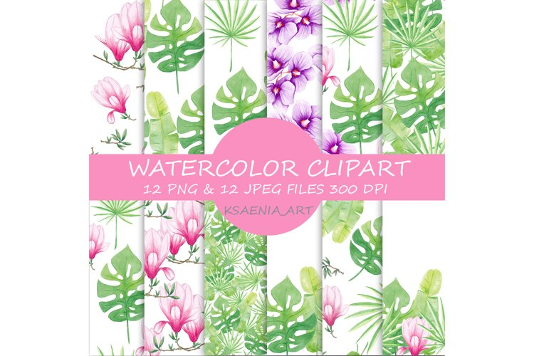 Watercolor Seamless Pattern Tropical leaves Orchidea Magnoli example image 1