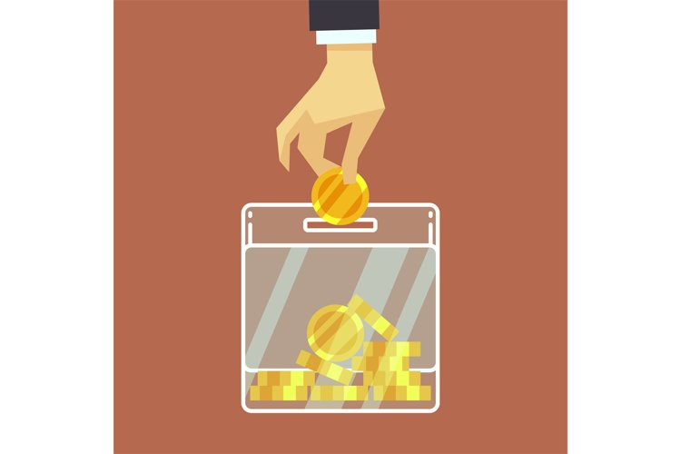 Businessman insert coin into donate box. vector donation con example image 1