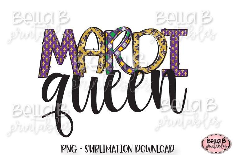 Mardi Gras Sublimation Design, Mardi Queen, Doodle Letters example image 1