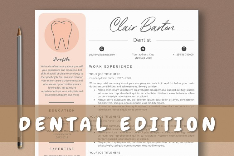 Dentist Resume Template Ms Word & Mac Pages example image 1