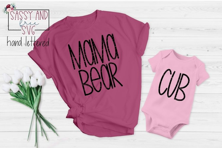 Mama Bear and Cub Hand Lettered SVG, PNG, & JPEG example image 1