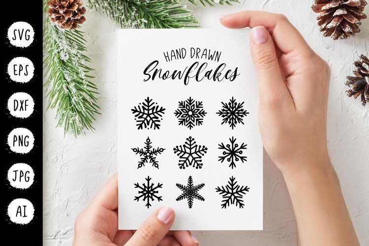 Snowflakes Christmas SVG, New Year Winter Clipart Cut File example image 1