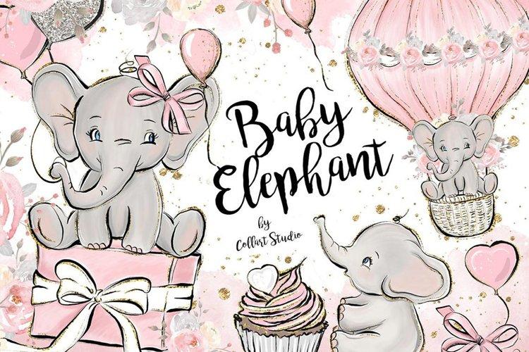 Baby Elephant clipart, Baby girl clipart, birthday clipart