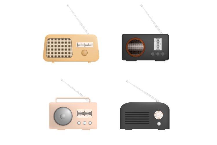 Radio music old device mockup set, realistic style example image 1