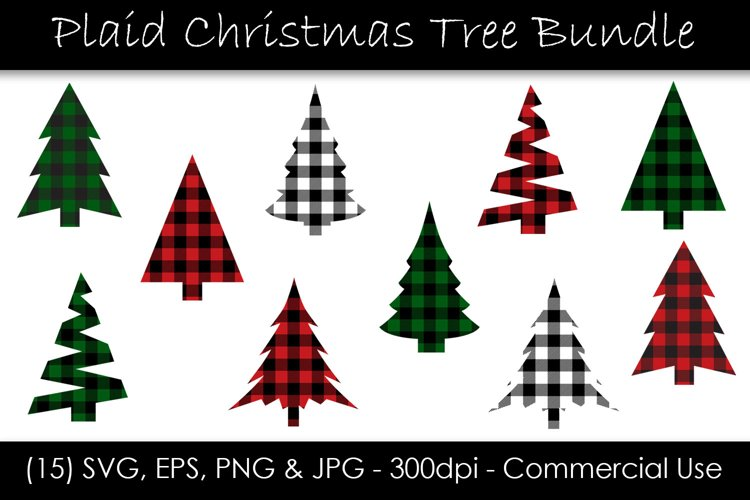 Christmas Tree Buffalo Check Plaid SVG Bundle example image 1
