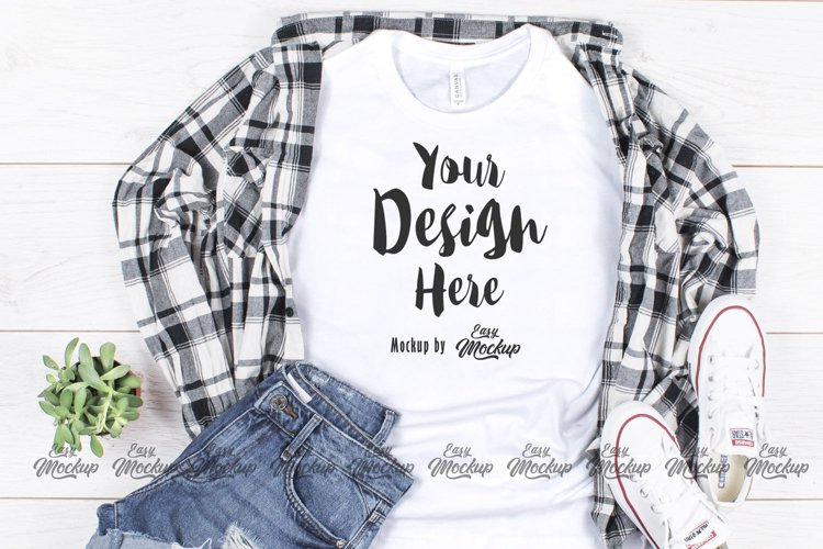 White Bella Canvas 3001 T Shirt Mockup example image 1