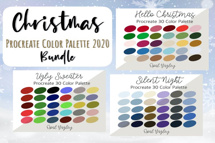 Christmas Color Palette for Procreate / 90 Color Swatches example image 1