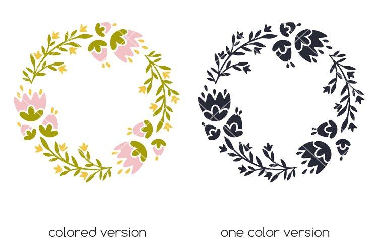 Floral monogram frame Cicut SVG cut file, Spring frame svg example 2