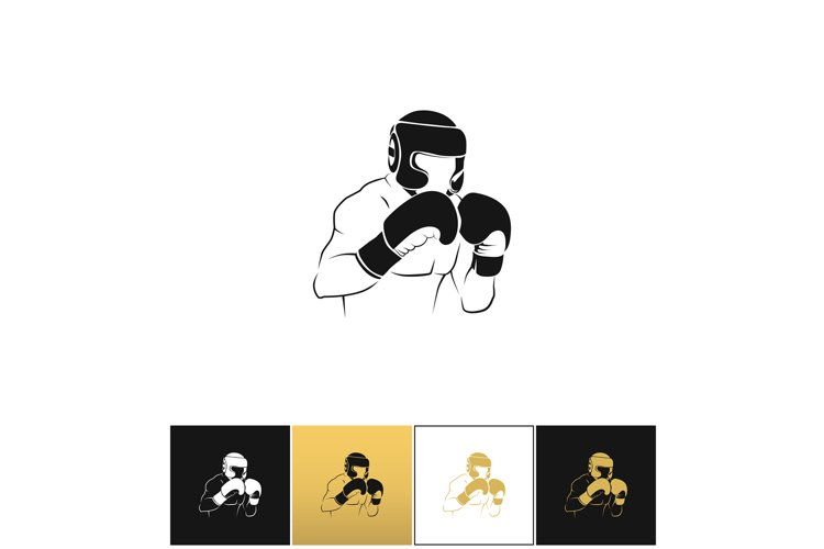 Boxer silhouette or boxing combat vector icon example image 1