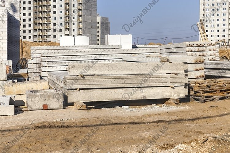 construction site with new ready-made reinforced concrete sl example image 1