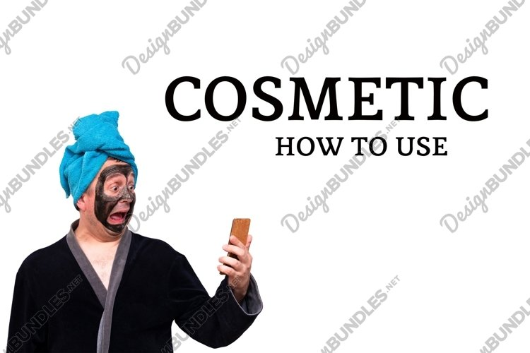 Funny fat man in black cosmetic mask on his face