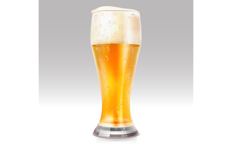 Realistic glass with light beer vector illustration example image 1