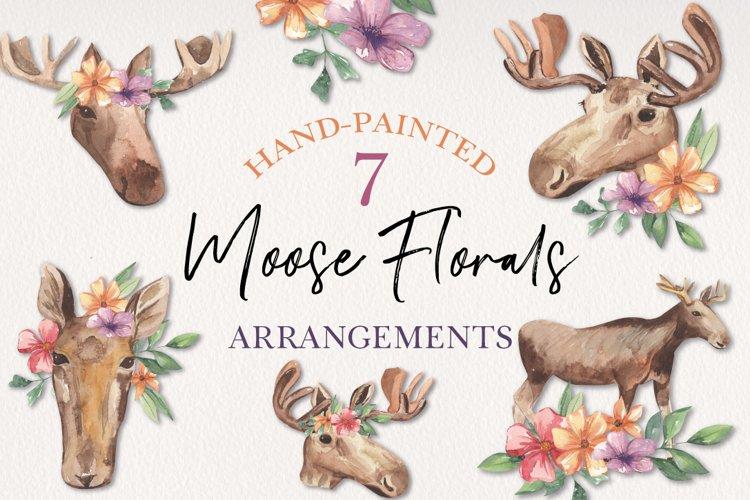 Moose Floral Animal Watercolors Flowers Arrangements example image 1