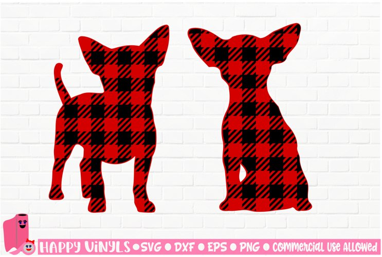 Buffalo Plaid Chihuahua Silhouettes - A Home Decor SVG File example image 1