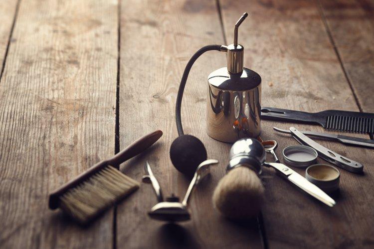 Barber shop wooden backgrounds JPG set example 1