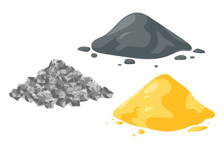 Set of vector illustrations sand, gravel and cement piles. example image 1