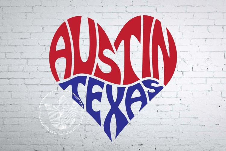 Austin Texas word art heart