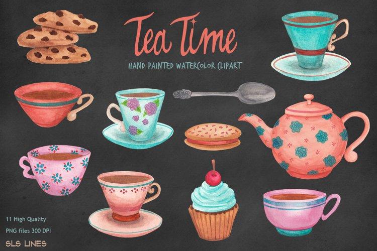 Tea Time Teacups   Cookies, Watercolors