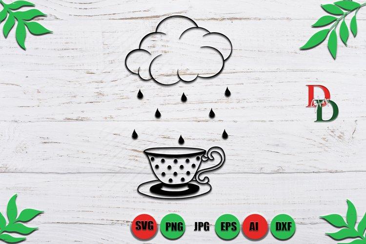 Cup Coffee Svg, Cup Vintage SVG, Rainy Svg, Cloud svg