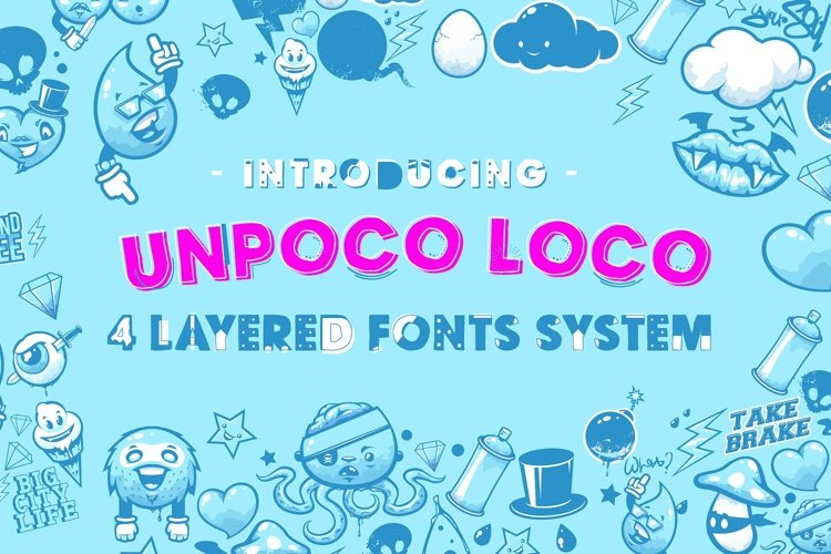 Unpoco Loco™ - 4 Layered Fonts