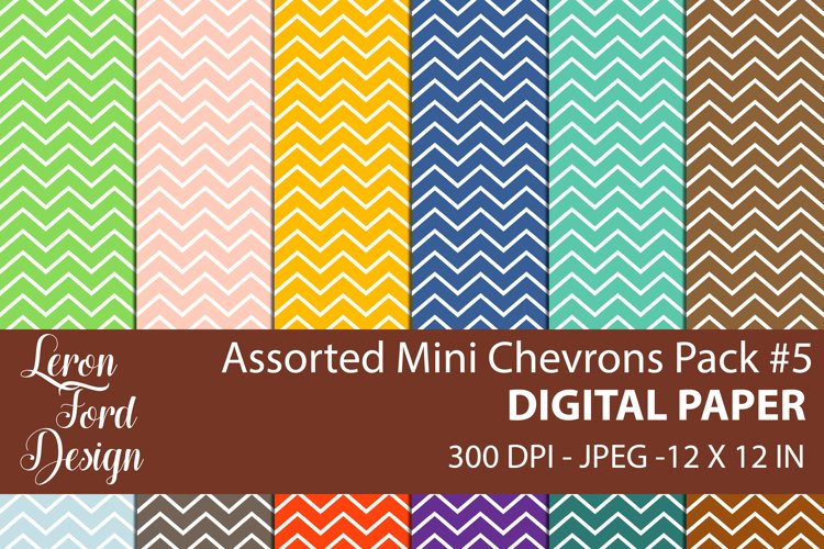Assorted Mini Chevrons Pack #5 Digital Paper example image 1