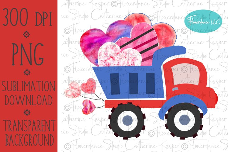 Valentines Day, Red and Blue Dump Truck, Boy, Watercolor PNG example image 1