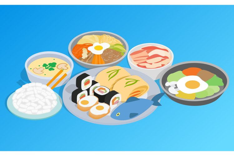 Korean food clip art, isometric style example image 1