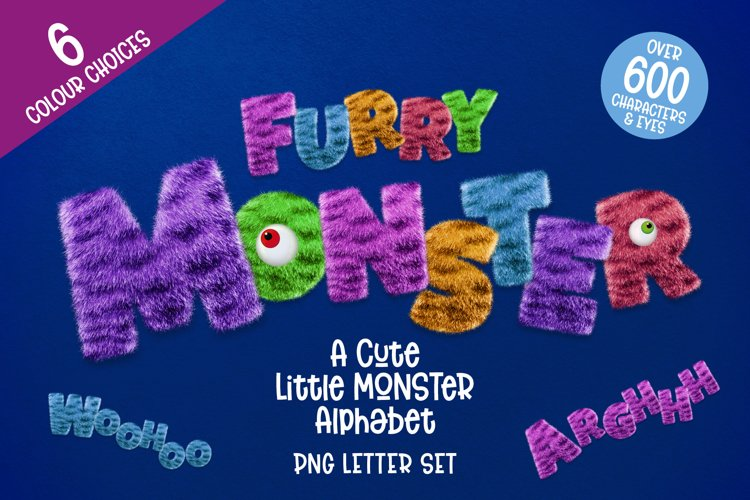 Furry Monster Alphabet - 6 PNG Letter Sets example image 1