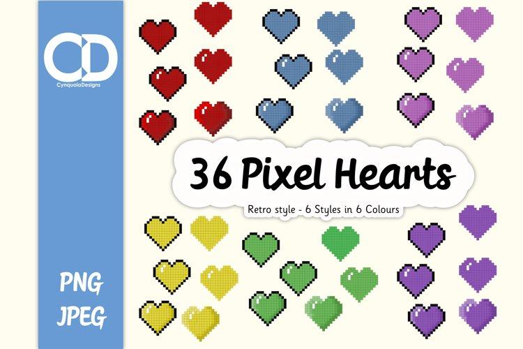 36 Retro style Pixel hearts example image 1