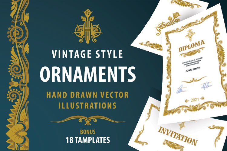 Vintage style hand drawn ornaments.