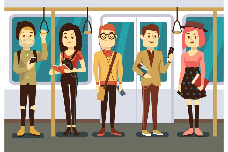 Man and woman with smartphone, gadgets book in public transp example image 1