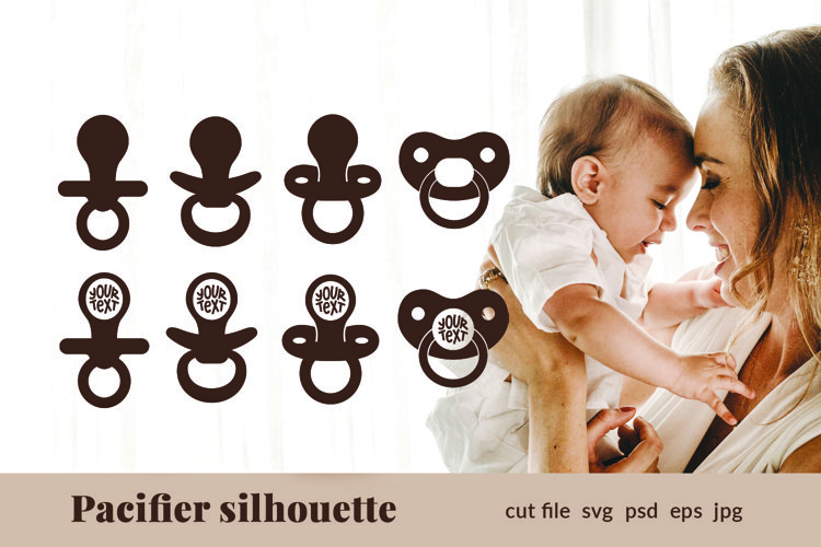 Pacifier svg Baby svg Silhouette Monogram Frame Cut File SVG