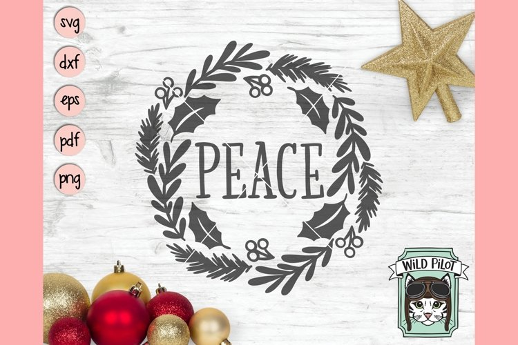 Christmas Wreath SVG, Peace SVG, Evergreen SVG, Holly SVG