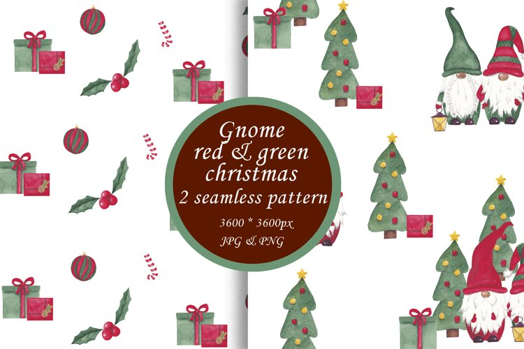 Watercolor christmas digital paper Scandinavian gnomes paper