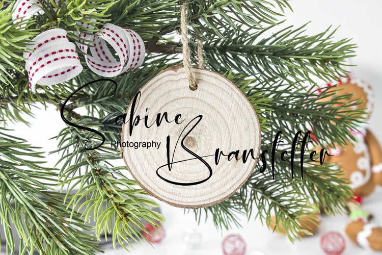 Mockup Round Wood Slice Disk Christmas Ornament Photography