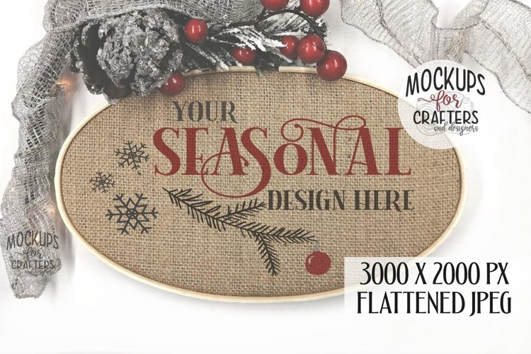 Cross Stitch, Embroidery Hoop, Burlap, Oval, MOCK-UP, Crafts