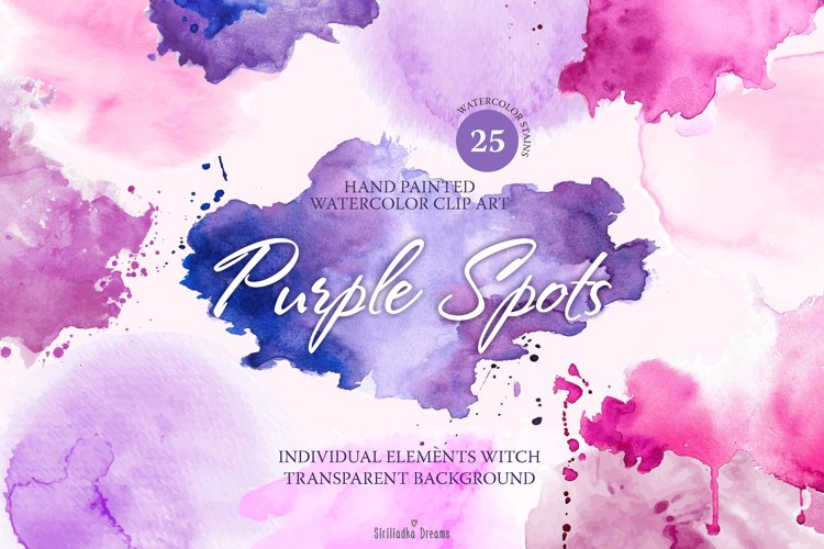 Watercolor stains clipart - Purple, pink spots .PNG .AI