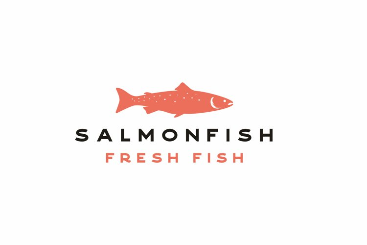 Vintage Salmon Fish Seafood Logo Design Vector example image 1