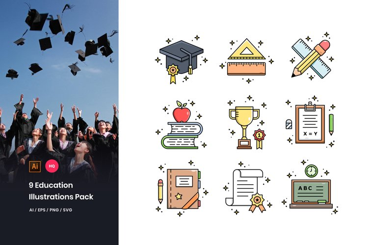 9 Education Illustrations Pack example image 1