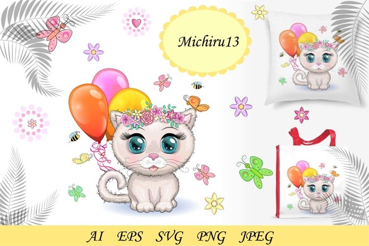 Cute cartoon pink kitten with beautiful eyes in a wreath example image 1