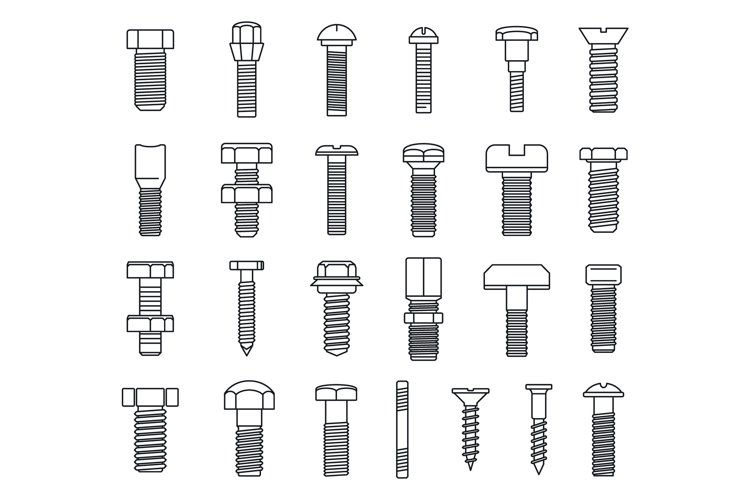 Screw-bolt industrial icons set, outline style example image 1