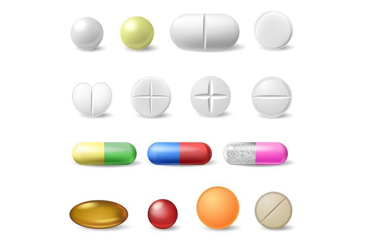 Realistic medical pills. Medicine healthcare vitamins example image 1