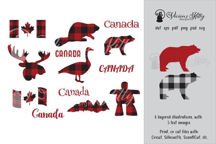 Canada day buffalo plaid bundle, moose, beaver, bear plus example image 1