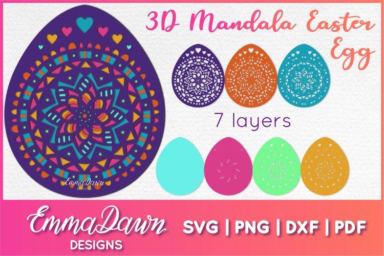 3D MANDALA EASTER EGG SVG 7 LAYERS, 3D SVG example image 1