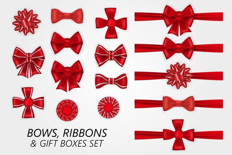 Bows, ribbons and gift boxes set. example image 1