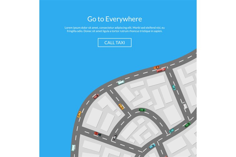 Vector city map with cars aerial top view illustration example image 1