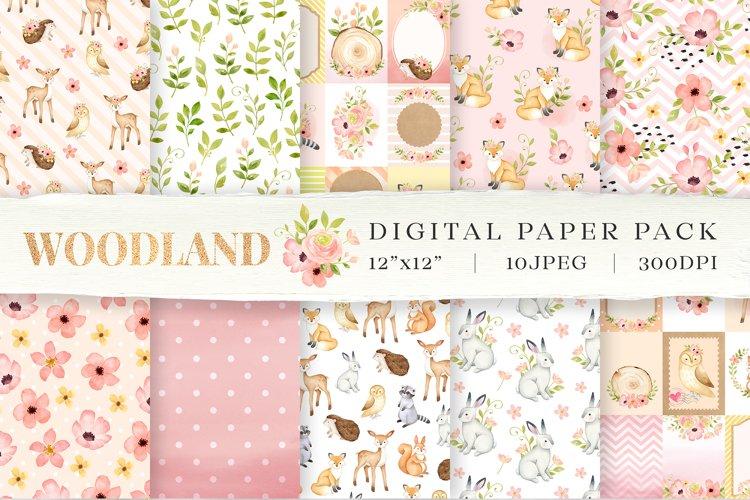Woodland animals digital paper, DIY scrapbook,