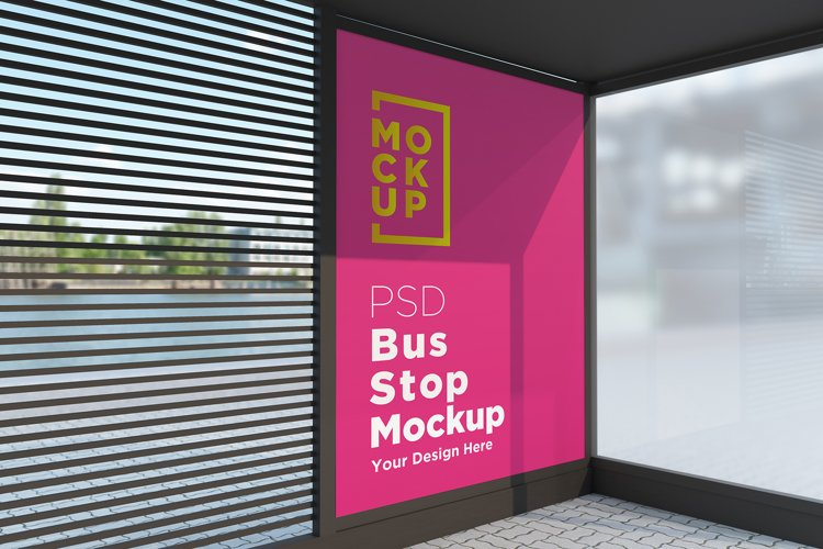 Bus Shelter Advertising Sign Mockup example image 1